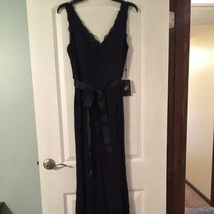 NWT Adrianna Papell Belted Lace Evening Gown